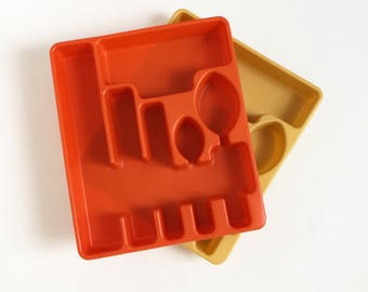 Vintage 1970s Rubbermaid Plastic Flatware Tray VGC, Orange or Harvest Gold Available