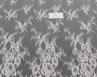 Ivory lace fabric, French lace, Chantilly lace, Wedding lace, Bridal lace, Evening dress lace, Lingerie lace, fabric by the yard SA7999