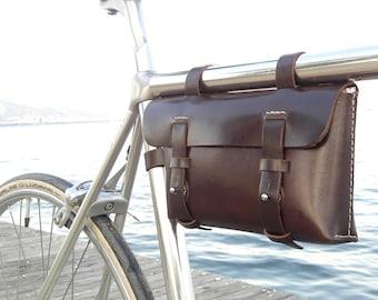 Leather Bicycle Bag -  Bike bag - Crossbar Bag, Espresso