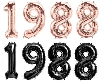 "1988 Rose Gold or Black Foil Balloons 34"" Foil Balloons 30th Birthday Balloon ""Same Day Shipping"""