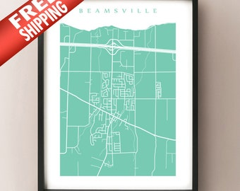 Beamsville, ON Map - Canada Wall Art - Ontario - Niagara Region
