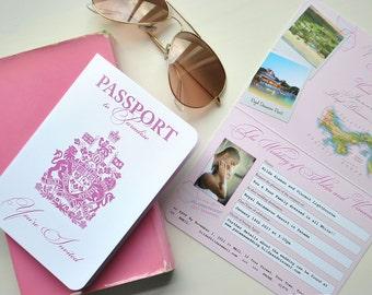 Pink Passport to Paradise Wedding Invitation for Destination Wedding in Panama