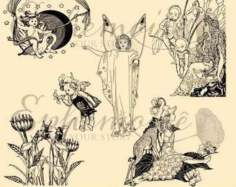 DIGITAL STAMPS - Fairies - Whimsical Fairy Digi Stamps - Digi Stamp Vintage Fairies - Mythical Fairytale Digital Stamp - 5 PNG - Mixed Media
