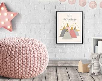 Mountains Print, Girl nursery, Woodland nursery, Girl room poster, Nursery Art, Nursery Decor, Nursery Pink Decor, Baby Girl Gift, Printable