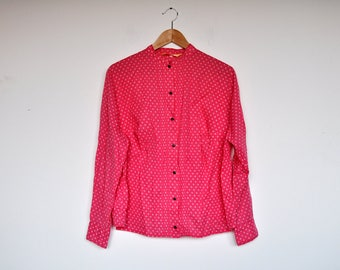 Vintage Pink Oversized Cotton Blouse Mandarin Collar Long Sleeve Tiny Floral Print Button Up Shirt
