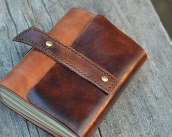 """Leather Journal / Handmade / Diary / Notebook / 6""""X4"""" LINED or plain"""