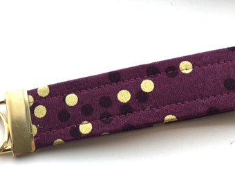 Ombré Plum Gold  Dots Key Chain Wristlet Key Fob Gold Colored Hardware Unique Wristlet Key Fob Ombre Confetti Fabric