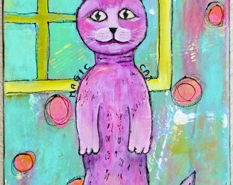 Magic Cat Original Mixed Media Art Original Acrylic Painting on 9 x 12 Canvas Cat Art by Charlotte Littlejohn