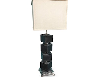 Modernist Lamp, Brown Lamp, Leather Table Lamp, Square Lamp Shade