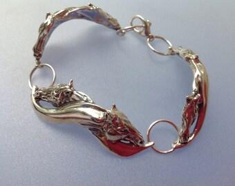 "Sterling Silver ""Mutual Grooming"" horse bracelet. Handmade Zimmer design"