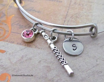 Flute Bangle Personalized Hand Stamped Initial Birthstone Antique Silver Flute Charm Stainless Steel Expandable Bangle Bracelet