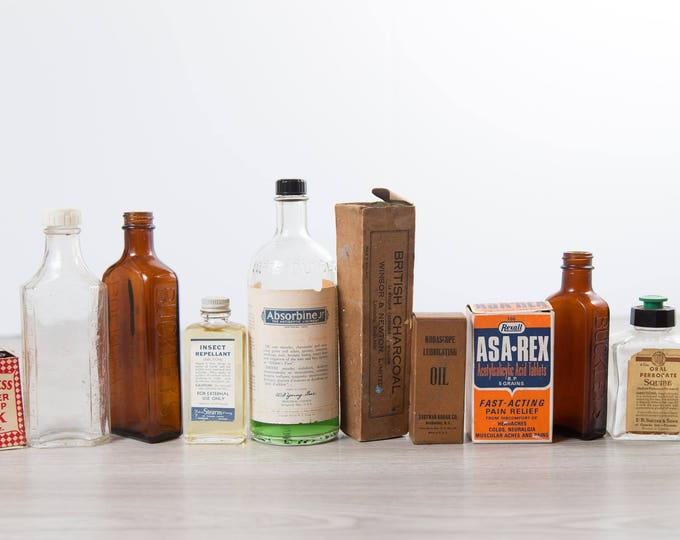 Vintage Apothecary Bottles - Set of 10 Antique Store Items - Pharmaceutical, Asa-Rex, Buckley's, Peerless Ink, Absorbine, British Charcoal