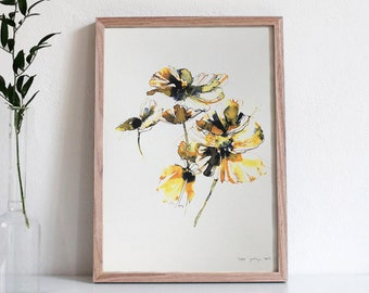 Yellow Poppies No. 1 - Limited Edition Ink and Watercolor Painting / Wall Art Print / Abstract Art / Home Decor