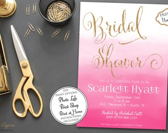 INSTANT DOWNLOAD - Pink Ombre Bridal Shower Invitation - Pink watercolor invite - Water Color - Gold Glitter - Pink Bridal Shower - 0176