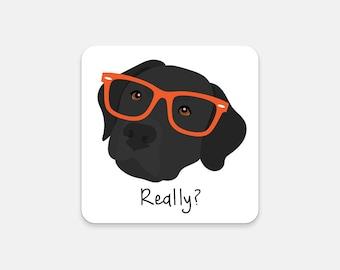Personalized Labrador Retriever Coasters, Black Lab Gifts, Black Lab, Lab with Glasses,Dog Coasters,Lab Coaster,Black Lab Coaster (Set of 2)