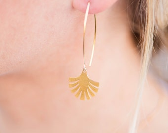 Geometric Palm Drop Earring // Gold Dangle Earring // Gold Drop Earring // Gold Palm Tree Earring