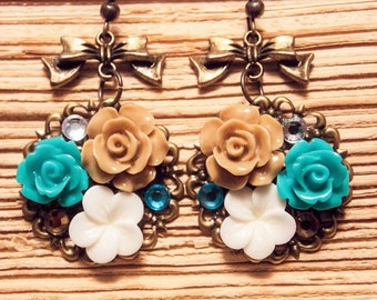 Chocolate and Teal Garden Earrings