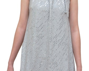 Silver Sequin halter top, Silver Gray infinity multi wear tunic,High Low top,Unique convertible tunic & skirt, Unique Gift, Valentine Gift