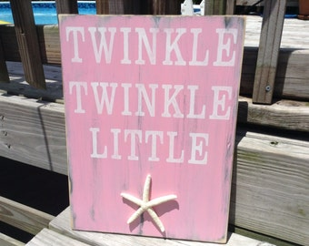 Beach Sign Twinkle Twinkle Little Starfish Coastal Cottage Nautical Nursery Decor
