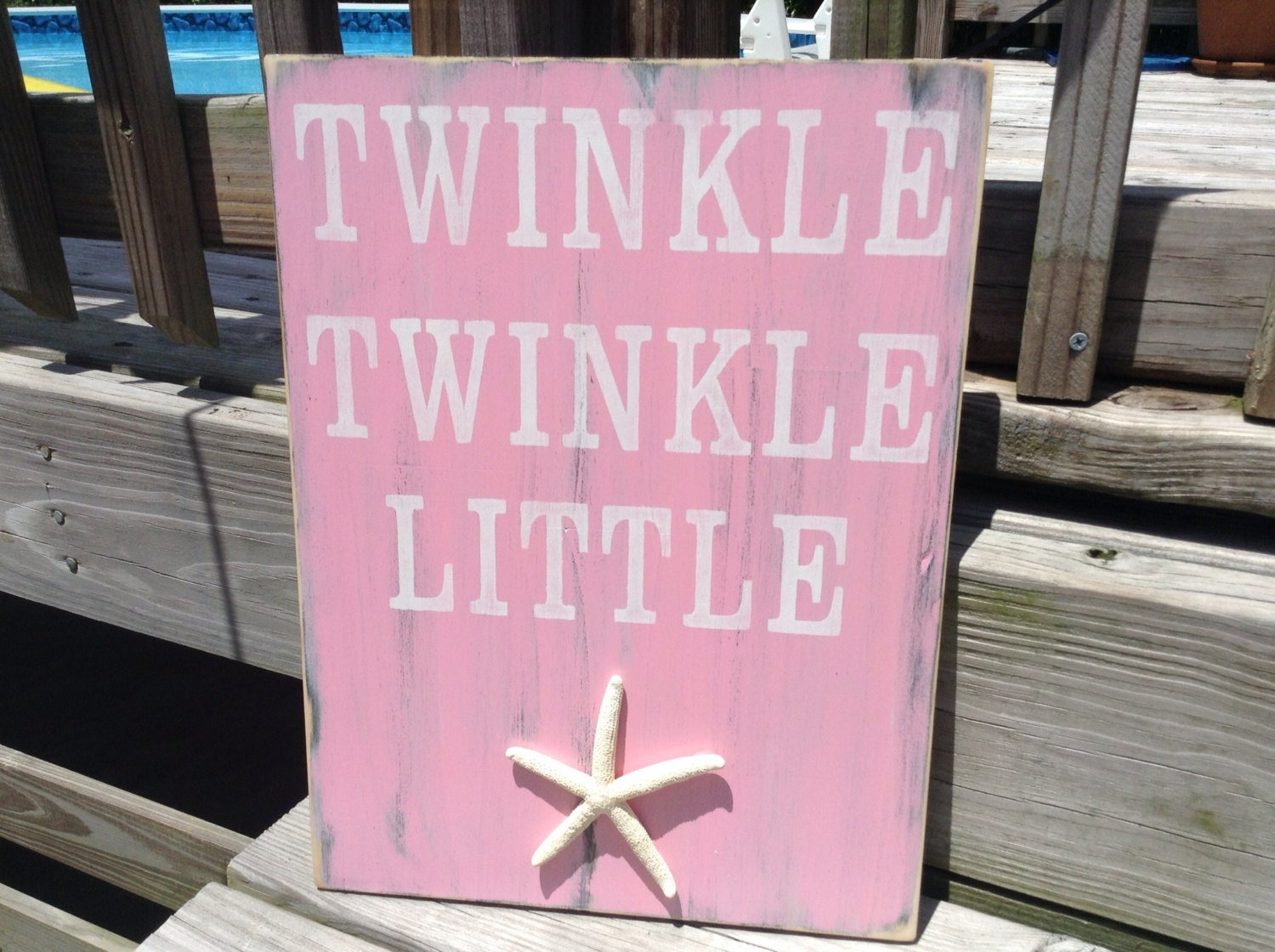 Beach Sign Twinkle Twinkle Little Starfish Coastal Cottage