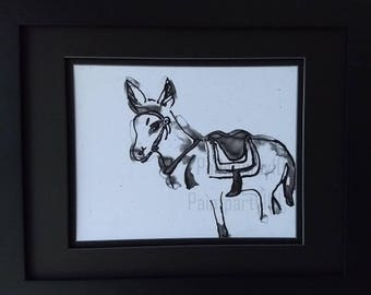 Black and white donkey art print, burro watercolor artwork, Mexican wall art, doneky painting, mule wall hanging,South American art, ass art