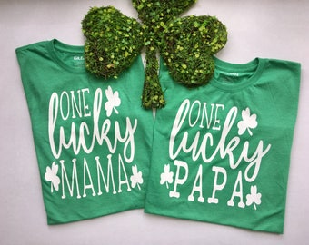 One Lucky Mama and Papa Matching St. Patrick's Day T-shirts