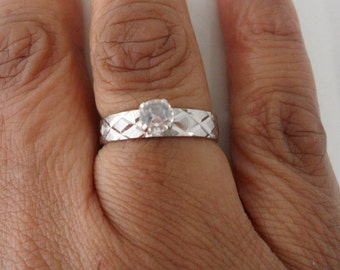 NOS Faux Diamond Ring Alternative Engagement Ring Brushed Gold