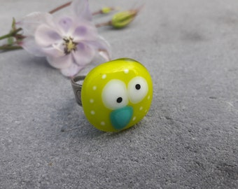 Glass fusing yellow hen, silver, Adjustable ring