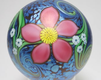 Vintage Signed Richard Braley Orient and Flume Floral Art Glass Paperweight, Orient and Flume Paperweight, Orient and Flume Art Glass