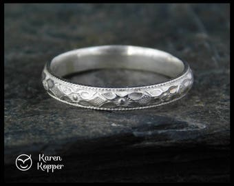 Floral pattern Sterling silver wedding ring, half-round wire, made at your size. Wedding bands, engagement ring.