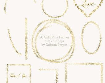 20 Gold Vine Frames  Laurel  Wreath  Hand drawn leaves  Foliage wedding invitation clipart design