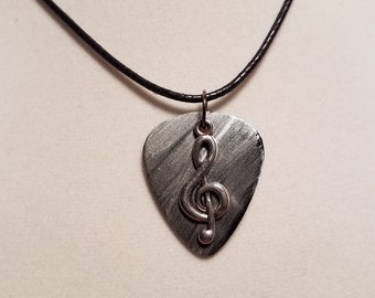 Guitar pick Necklace made from  Vinyl Record -  Music Treble Clef