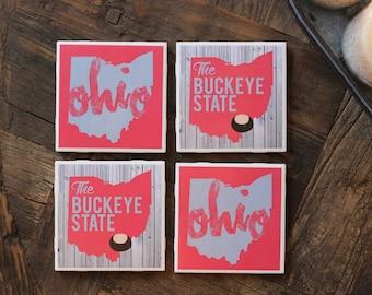 Ohio Gift / Ohio Coasters / Ohio Gifts / Ohio / State / Buckeye State / Columbus / Cincinnati / Cleveland / Dayton / Coasters / Ohio Decor