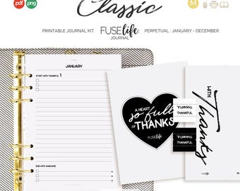 Half Letter + A5 Black and White Gratitude Journal Kit : Medium FUSElife Classic > inc Cover, Bookmark, Tabs + Tip Guide (jes0573)