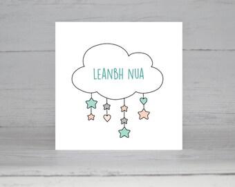 Comhghairdeas, New Baby, Leanbh Nua, Babaí Nua, Irish, Gaeilge, Cárta Gaeilge