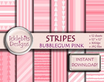 "Pink Stripes Digital Paper Pack, ""BUBBLEGUM PINK"" For Scrapbooking, high resolution, striped, triangles, baby girl, Design #27"