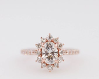 Oval Forever One Moissanite Halo Diamond Engagement Ring, Halo Engagement, Rose Gold, Gold Ring, Moissanite Ring