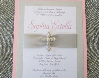 Pink Baptism Invitation, Christening Invite, Girl Baptism Invite, Pink Baptism Invite, Invitation with Crystal Cross, Communion Invite