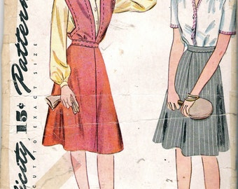 """Vintage 1944 Simplicity 1062 WWII Jumper Blouse and Skirt Wartime Sewing Pattern Size 15 Bust 33"""" UNUSED"""