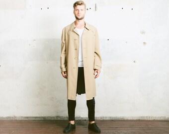 Vintage TRENCH Coat . 80s Detective Coat Long Jacket Beige Men's Duster Coat 1980s Belted Rain Coat Long 70s Retro Outerwear . size Large