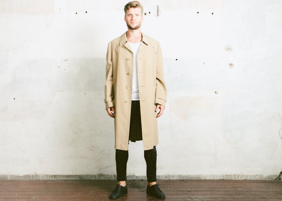 Vintage TRENCH Coat . 80s Detective Coat Long Jacket Beige Men's Duster Coat 1980s Belted Rain Coat Long 70s Retro Outerwear . size Large KRSbV1IP5