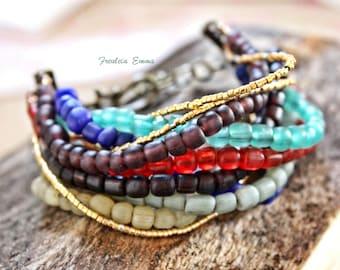 Alma Bracelet Boho 10reihig Stained glass beads