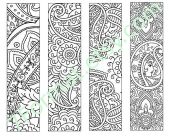 Bookmarks Coloring Printable, Instant Download. 21.