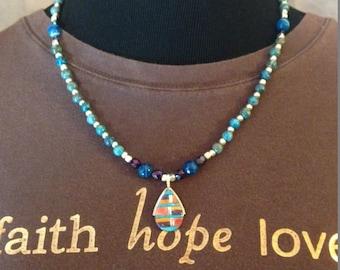"TOUCH OF ""BLUZ"" pendant necklace#92"