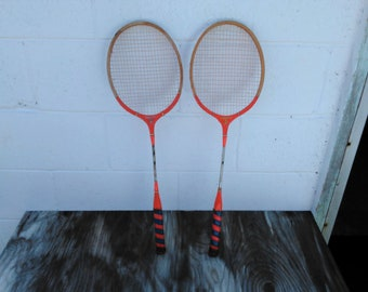 Vintage Set of 2 Badminton Rackets - Vintage Sports - Wooden Rackets