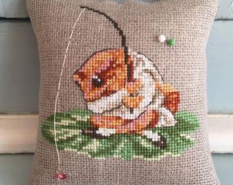 Handmade Pincushion Beatrix Potter Jeremy Fisher Fishing Liberty of London Fabric
