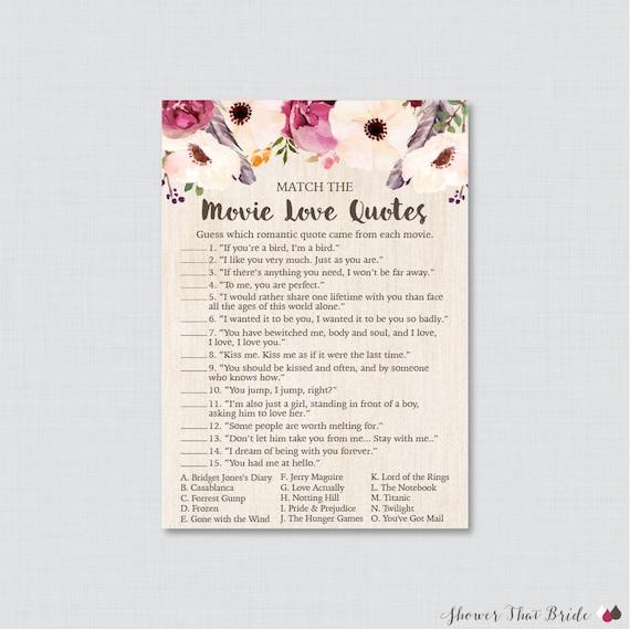 Movie love quote match game printable boho bridal shower stopboris Choice Image
