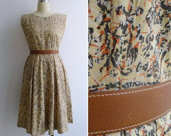Vintage 50's Buttermilk Yellow Abstract Tiki Print Button Back Day Dress S