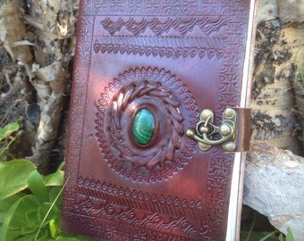 Leather Journal - Malachite Stone Leather Notebook - Medieval Leather Journal - Handmade Embossed Blank Book - Rustic Leather Journal