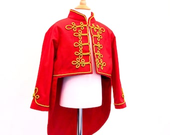 Kids Circus Ringmaster Costume COAT ONLY | Greatest Showman red tailcoat with gold braiding | Sergeant Pepper Kids Costume